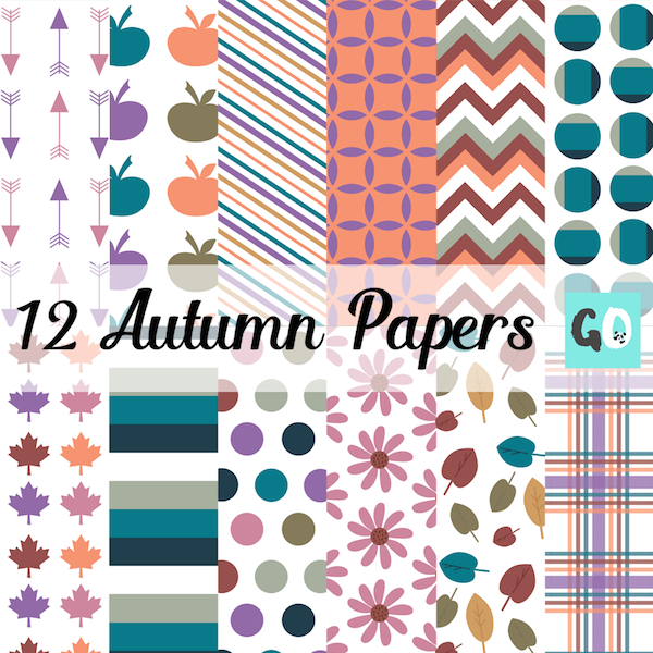 A gorgeous variety of Autumn themed clipart papers. All 12 by 12 inches. Made by GradeONEderful.com