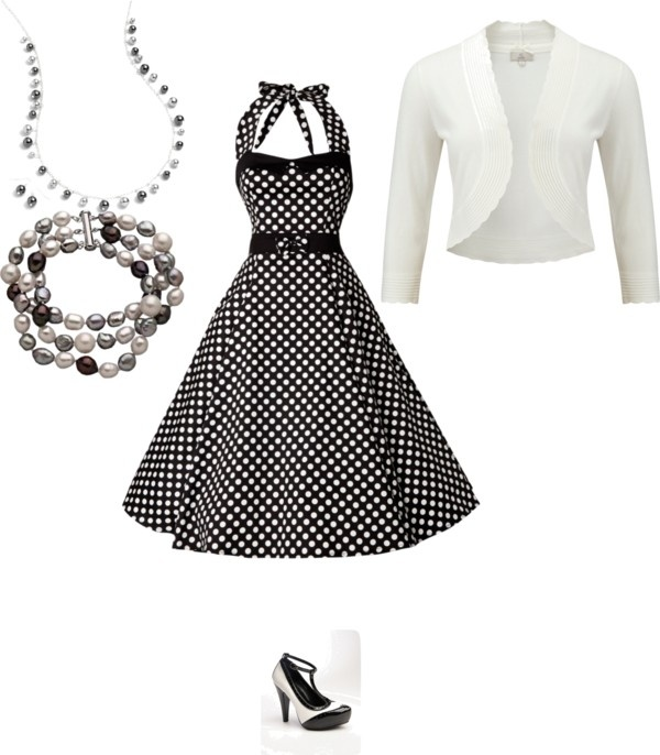 White dress with black polka dots and accessories