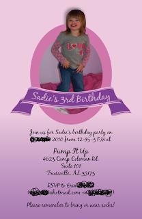 Custom Printables Sadie's bouncy third birthday party invitation