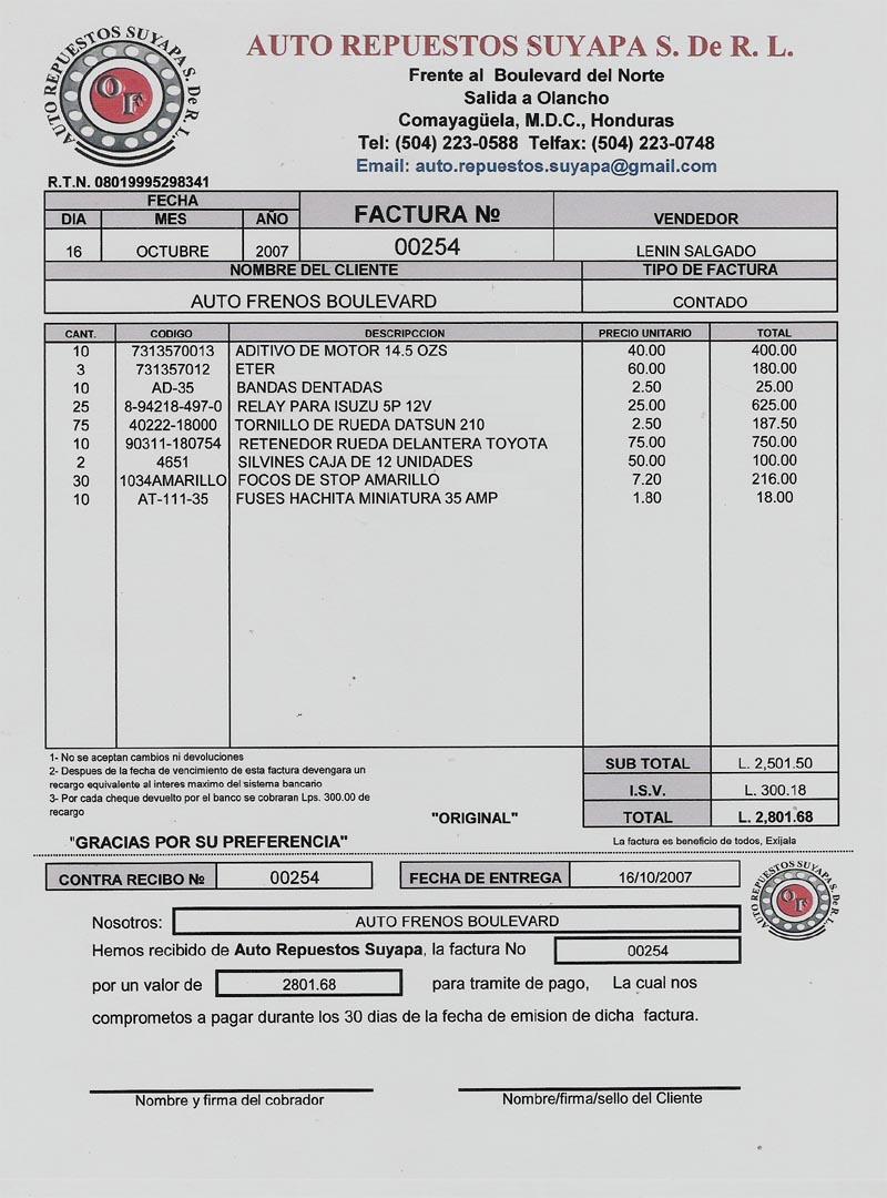 informatica 2 l n facturas excel