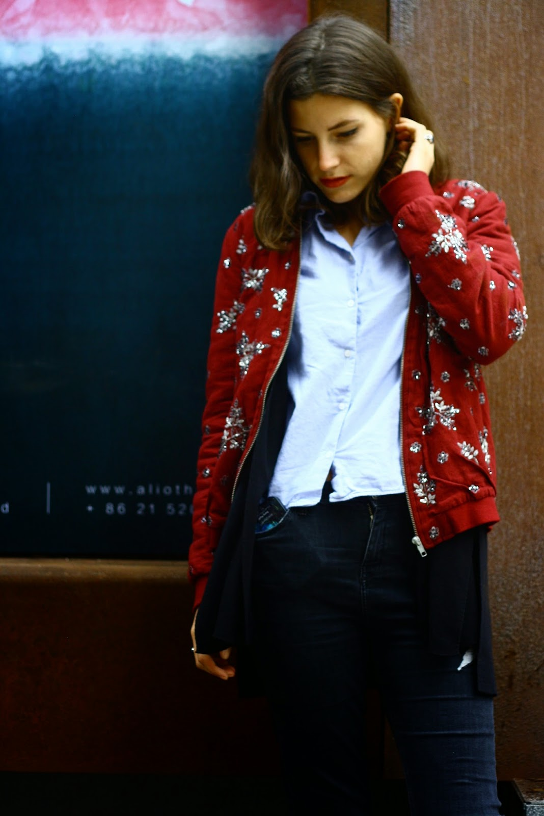 Fashion blogger shanghai m50 bomber jacket
