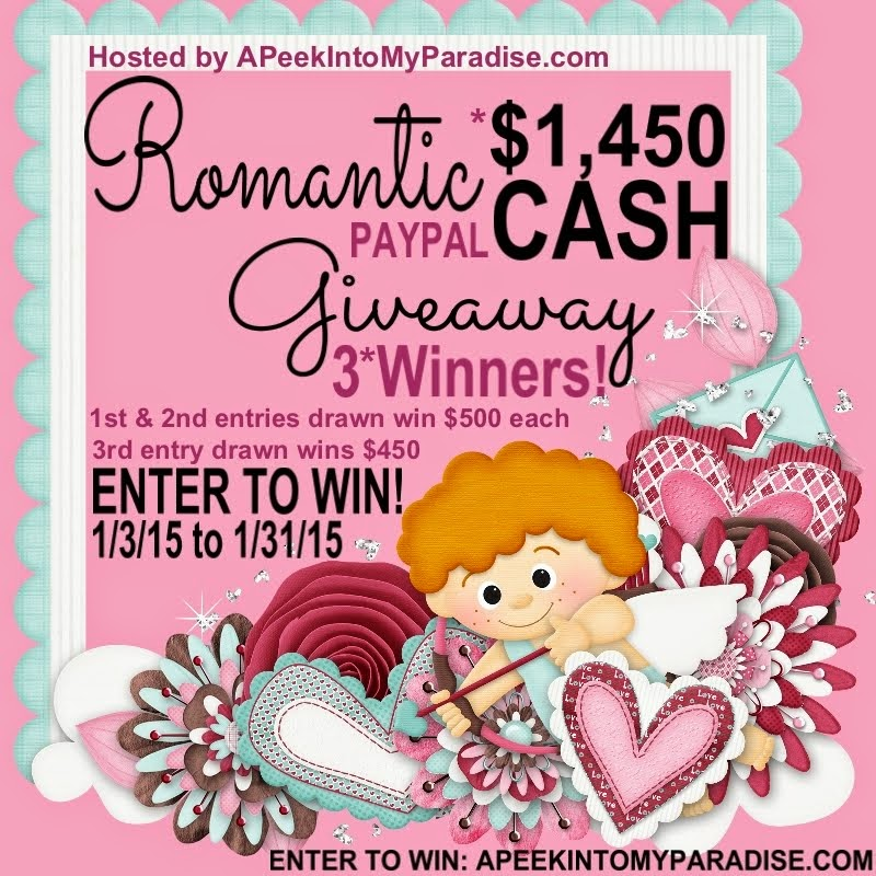 Romantic Cash Giveaway 1/3/15 - 1/31/15