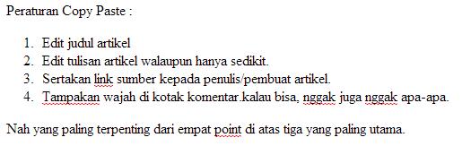 Peraturan copy paste