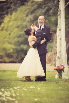 The first kiss as a married couple - Kent Buttars, Seattle Wedding Officiant