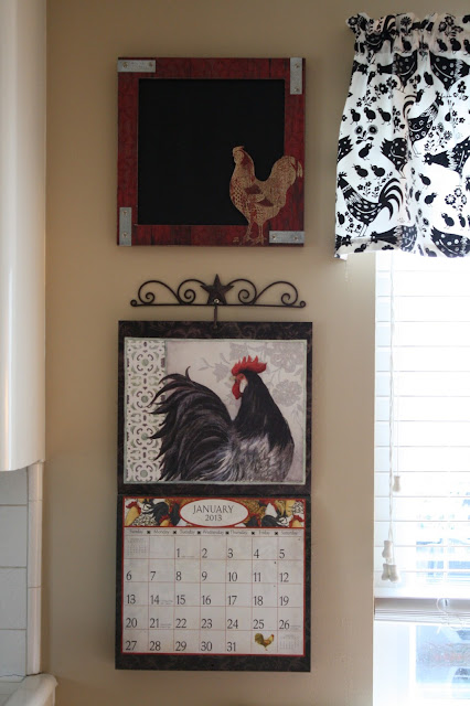 red, white and black kitchen, chicken decor, rooster decor