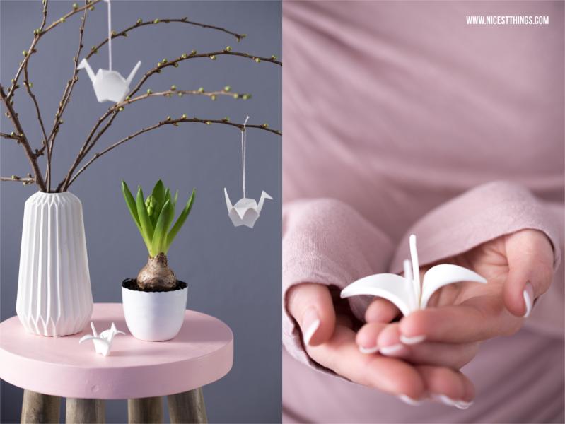 fr hlingsdeko diy origamikraniche aus modelliermasse. Black Bedroom Furniture Sets. Home Design Ideas