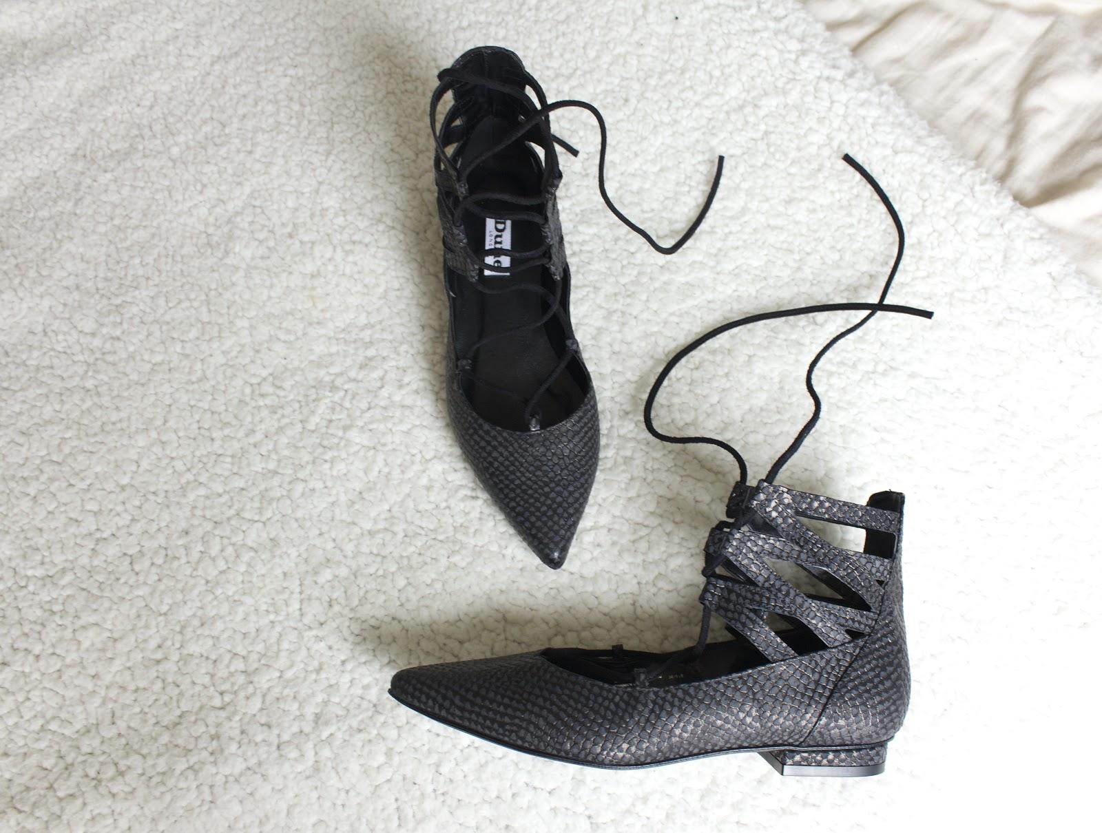 ballerina flats, reptile print shoes, dune london, leather flats, hobra flats,