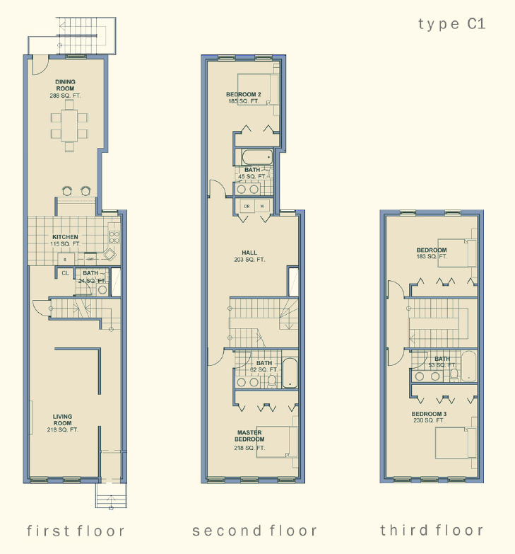 Narrow Row House Floor Plans
