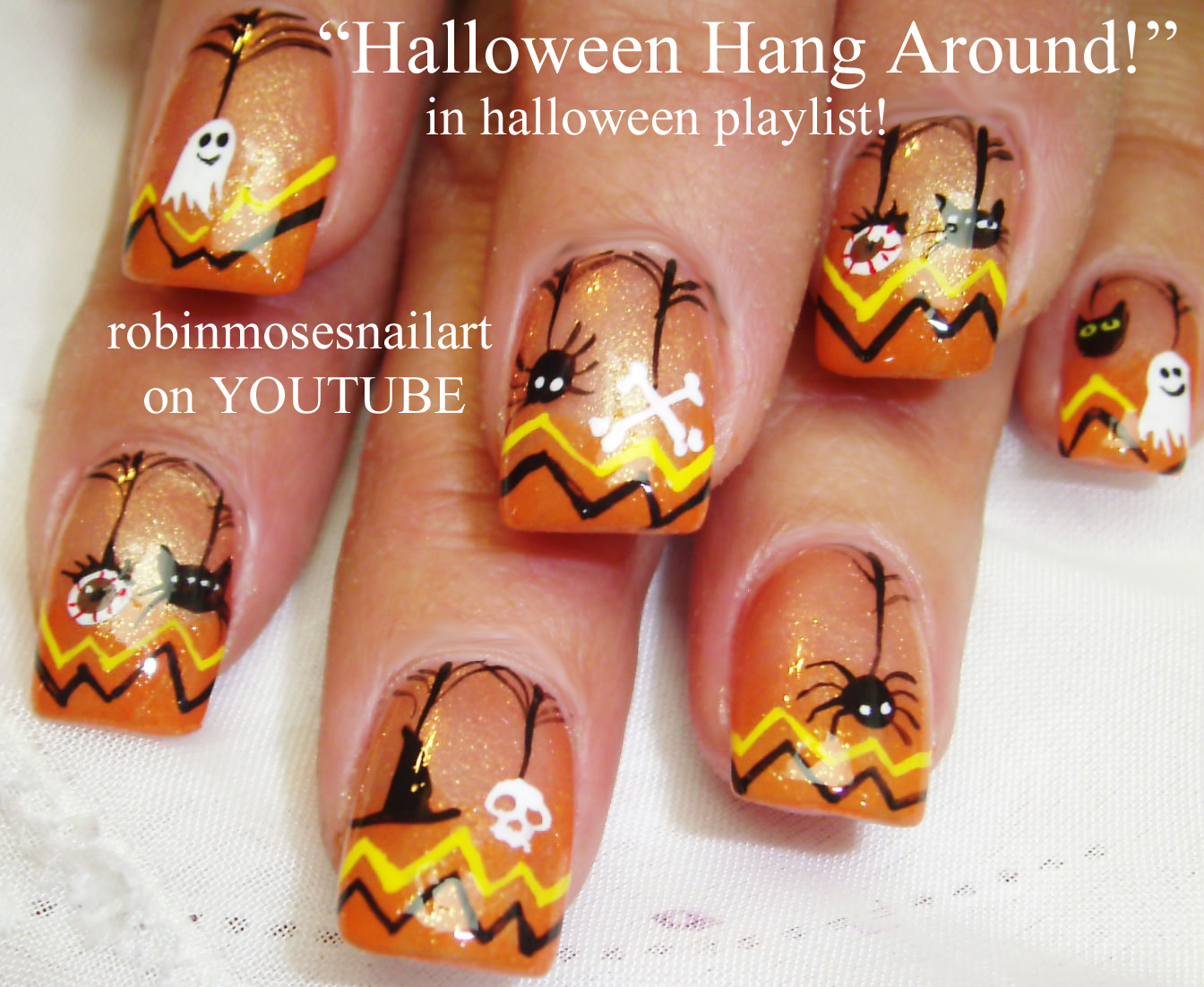 Robin moses nail art cute halloween skeleton nails skeleton nails halloween nails red - Nail art halloween ...