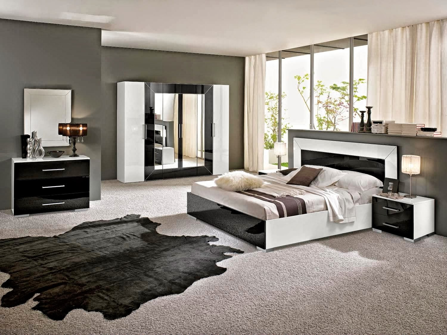 best chambre moderne noir et blanc decoration chambre noir et blanc idees deco pour maison. Black Bedroom Furniture Sets. Home Design Ideas