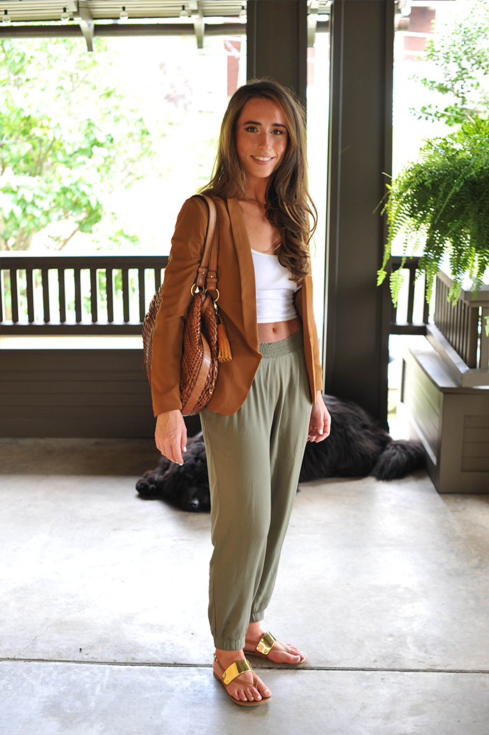 American Apparel Crop Top, H&M Blazer, Parachute Pants, Cole Haan Purse Style Fashion