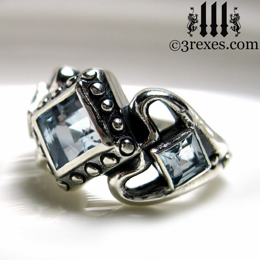 silver gothic wedding Ring aquamarine stones