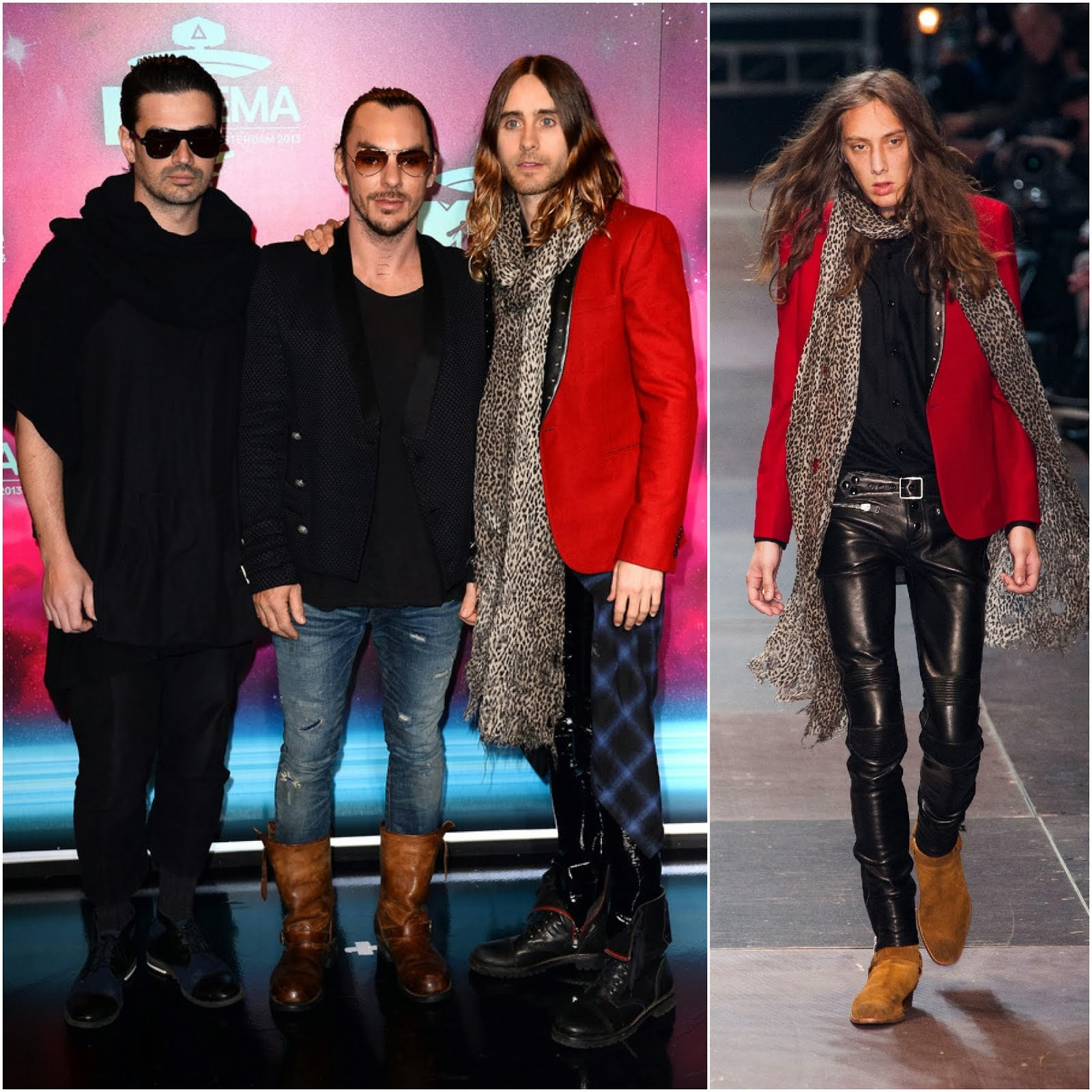Jared Leto in Saint Laurent red wool blazer - MTV EMA's 2013