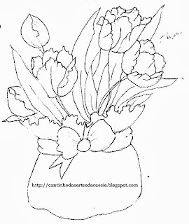 risco de cachepo com tulipas para pintar