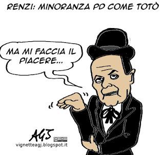 Renzi, minoranza PD, Bersani, Totò, vignetta satira