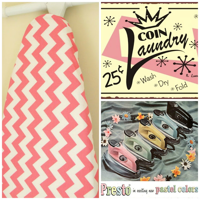 chevron ironing board cover retro laundry sign vintage Presto pastel irons Just Peachy, Darling