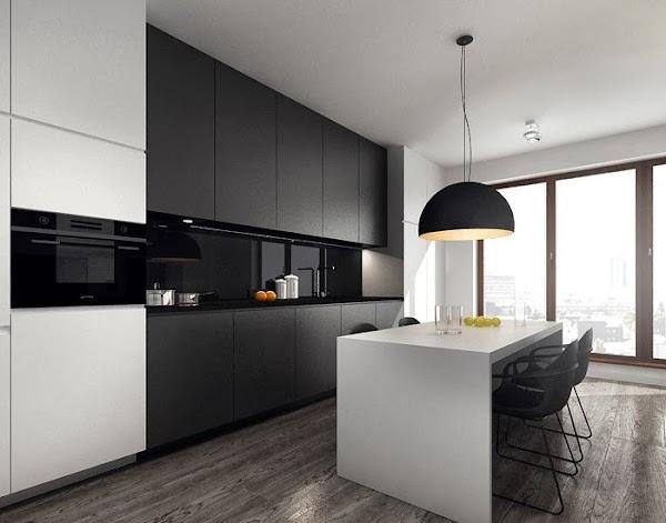 Cocinas blancas suelo negro decorar tu casa es for Piso cocinas minimalistas