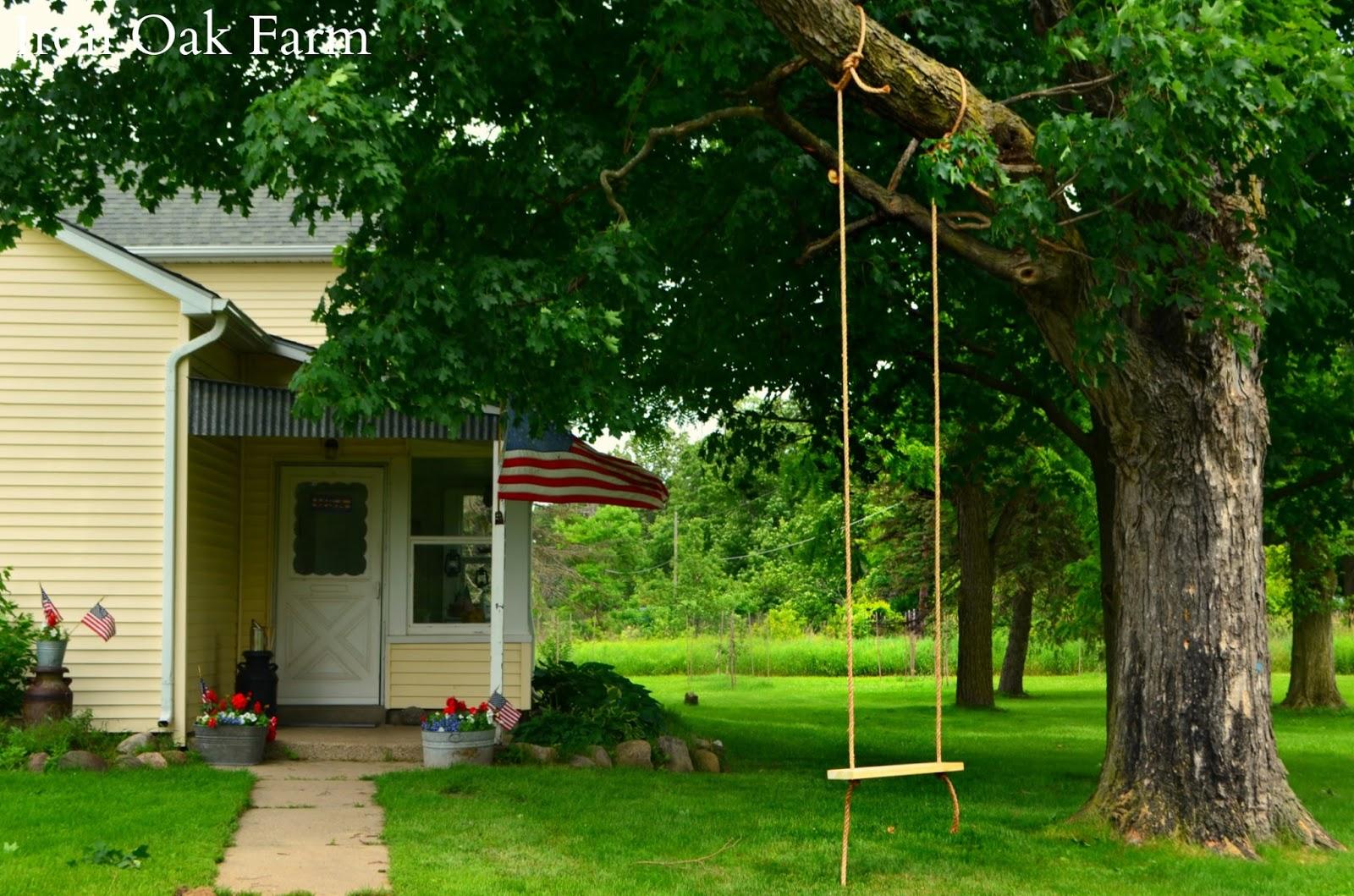 iron oak farm farmyard tree swing