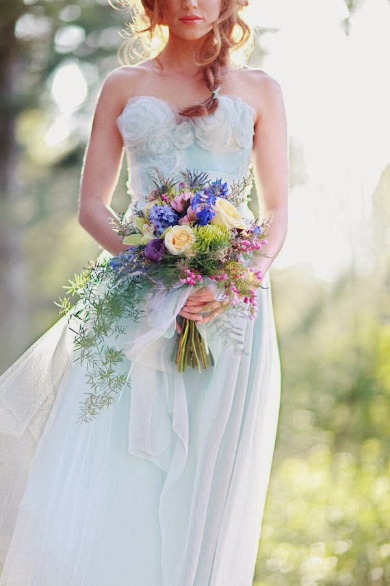 Tangled up in Blue Silk Organza Wedding Gown