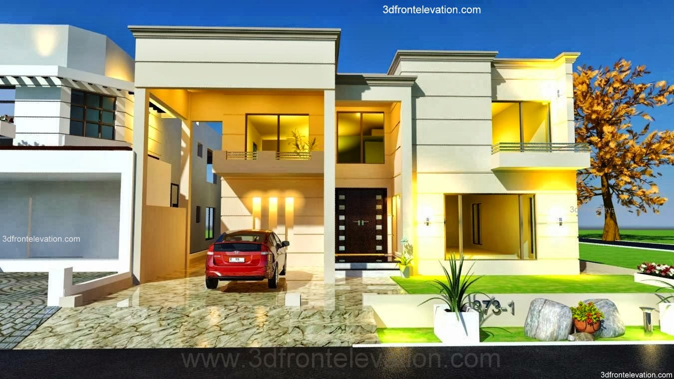 3d front 1 kanal house plan 3d front for One kanal house plan