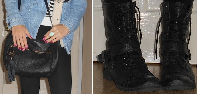Topshop vintage borg denim jacket nine west combat boots