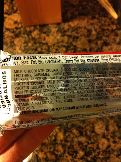 snickers marathon protein bar nutritional label
