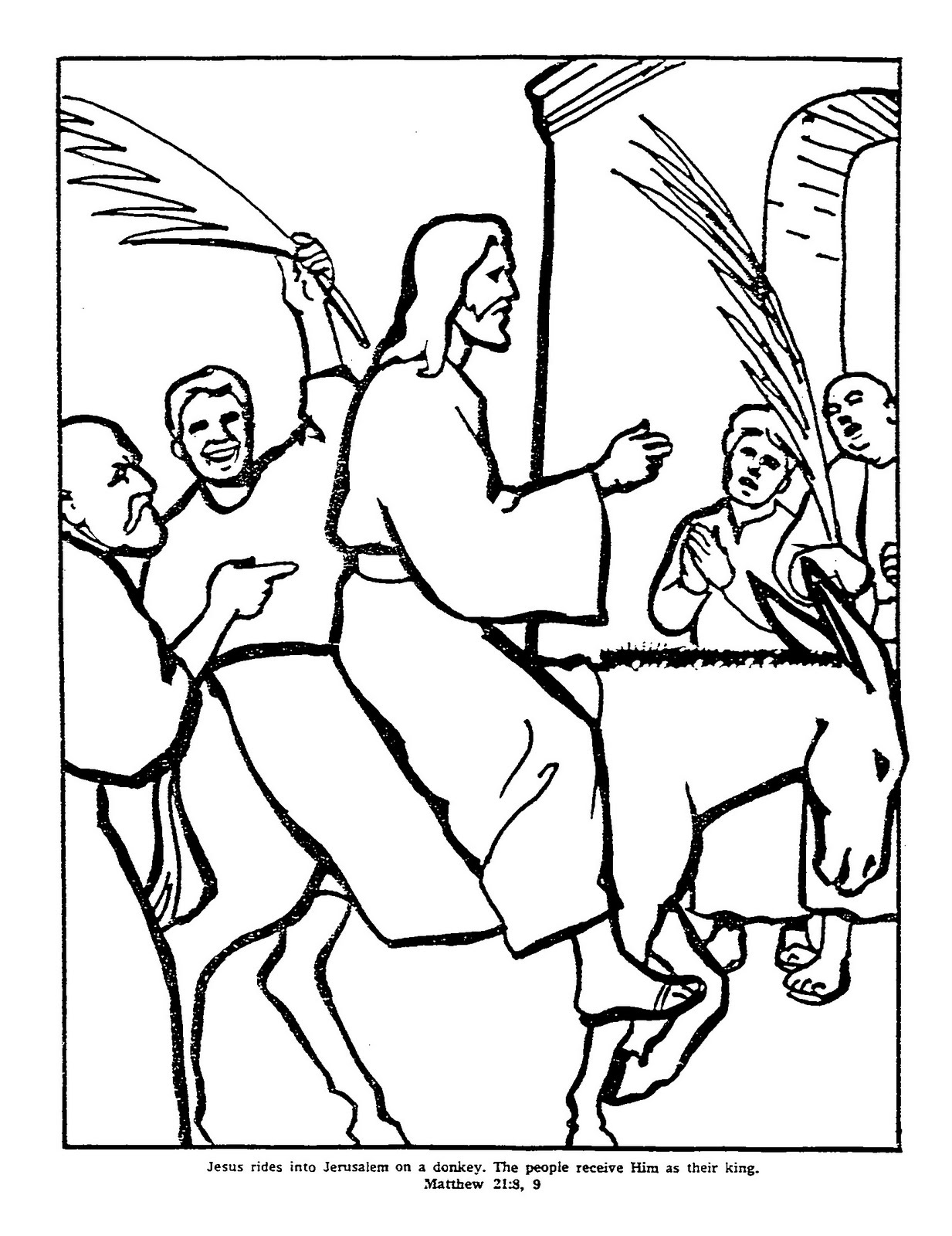 Free coloring pages for palm sunday - Men Shouting Hosanna As Jesus Riding Donkey By Entering Into Jerusalem From Mount Of Olives Coloring