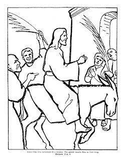 men shouting hosanna as Jesus riding donkey by entering into Jerusalem from mount of olives coloring page