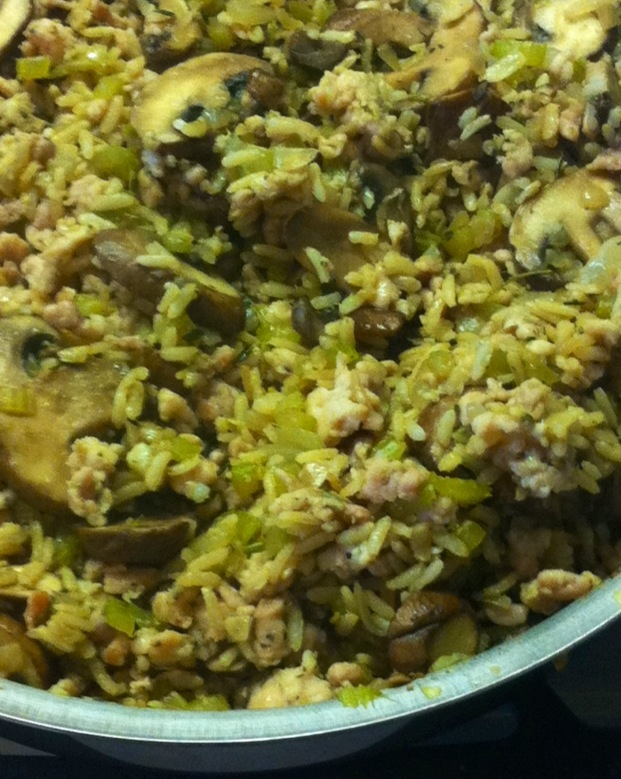 Mushroom & Chicken Sausage Brown Rice Stuffing