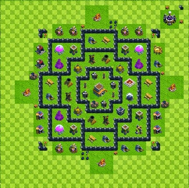 Tipe Defense Base Layout Town Hall Level 8 Clash of Clans ~ Jagat