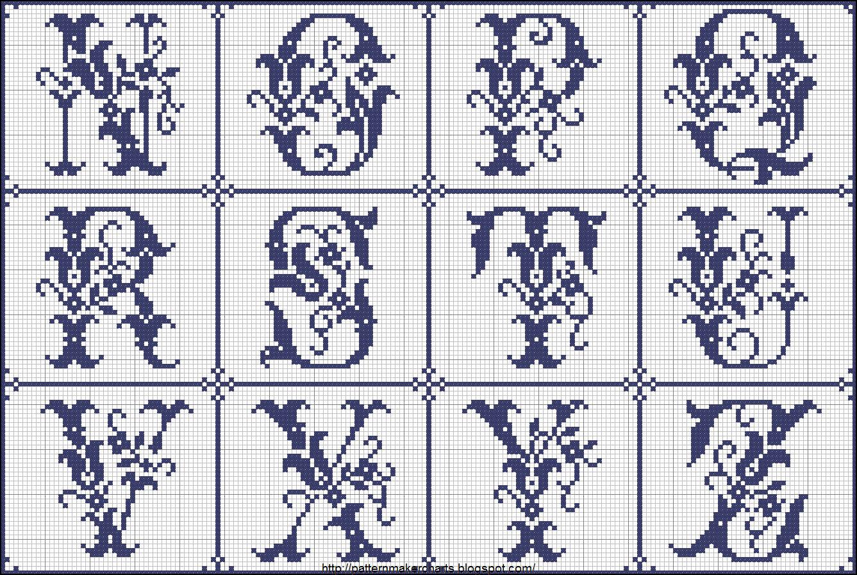 Схемы вышивки буквы А 68