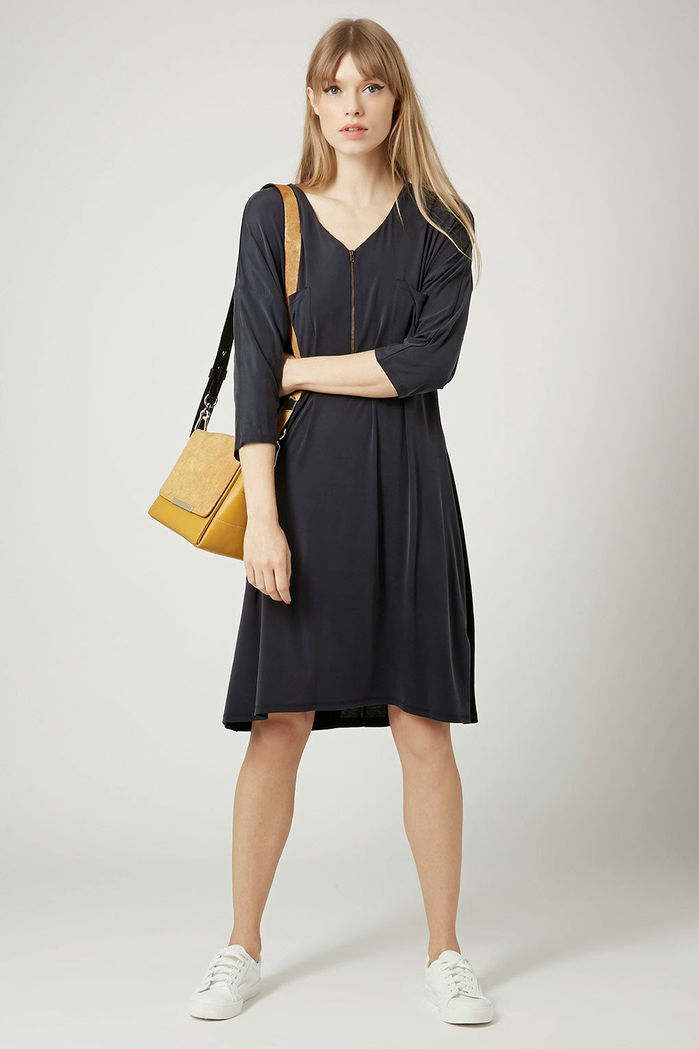 navy zip dress