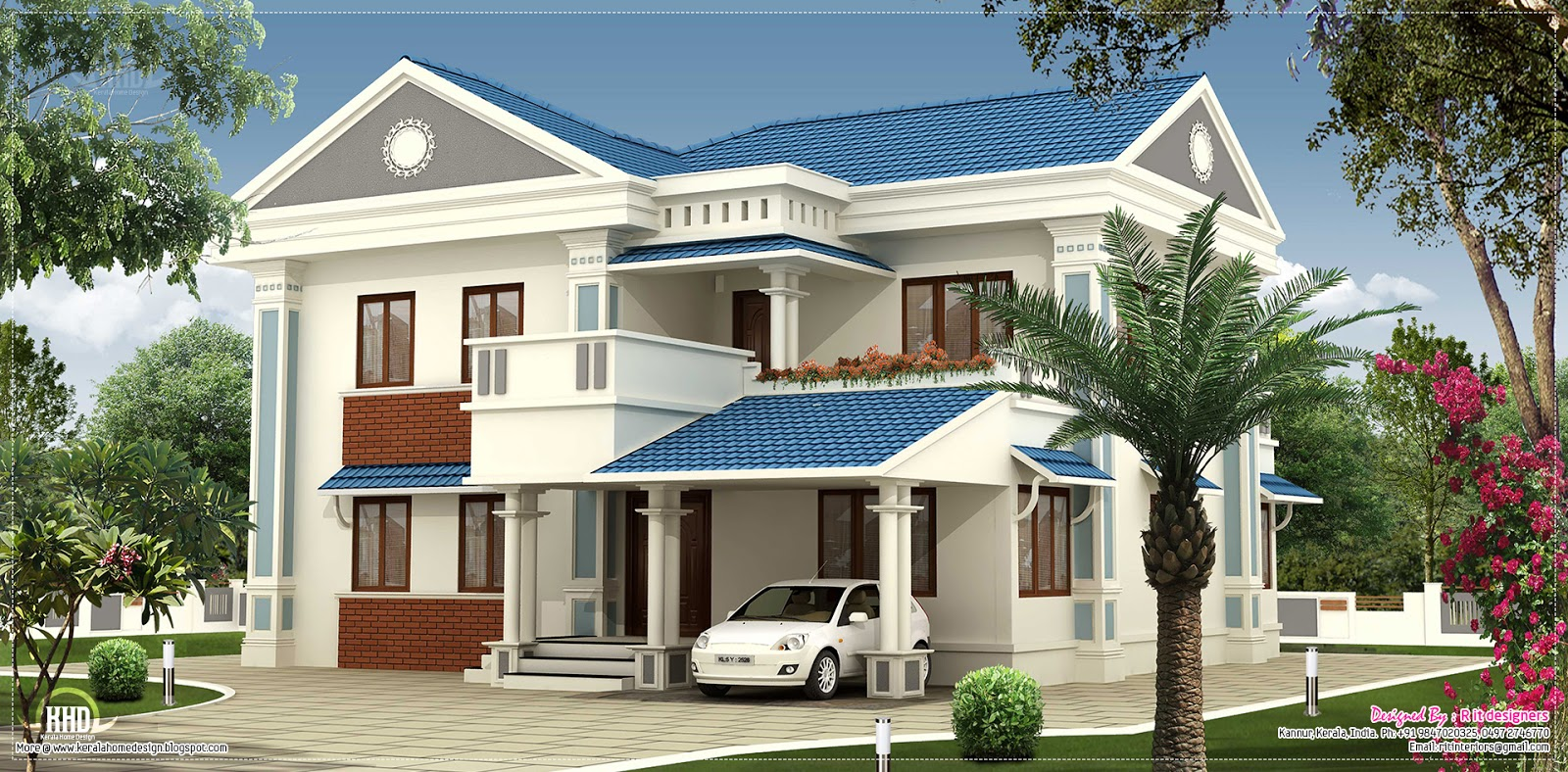 2000 beautiful villa elevation design kerala for Beautiful house plans with photos