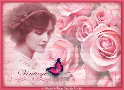 fondo vintage con dama victoriana y rosas