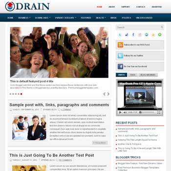 Drain blog template. template image slider blog. magazine blogger template style. wordpress theme to blogger