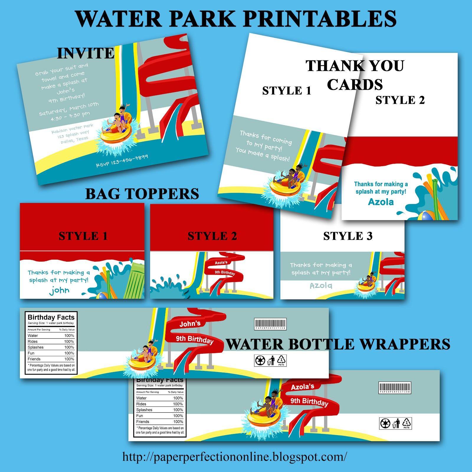 Paper Perfection: Water Park Party Invitation and Printables
