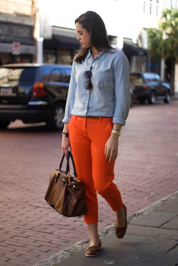 Charleston Street Style, Womens Street Style, southern Street Style, king street fashion, womens preppy fashion, Denim shirt and orange
