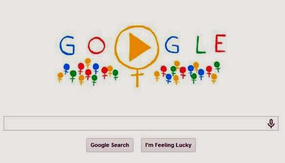 Screenshot of Google Doodle on International  Women's Day 2014