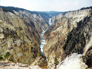 View of Yellowstone Canyon and Lower Falls from Artist Point in Yellowstone National Park in Wyoming