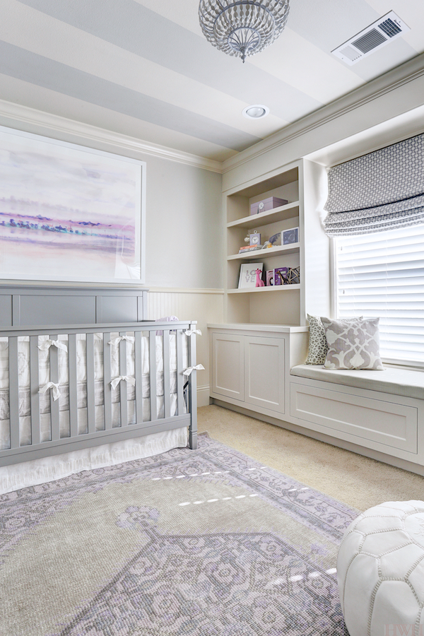Baby Girl's Lavender Nursery, stripes on the ceiling | Honey We're Home