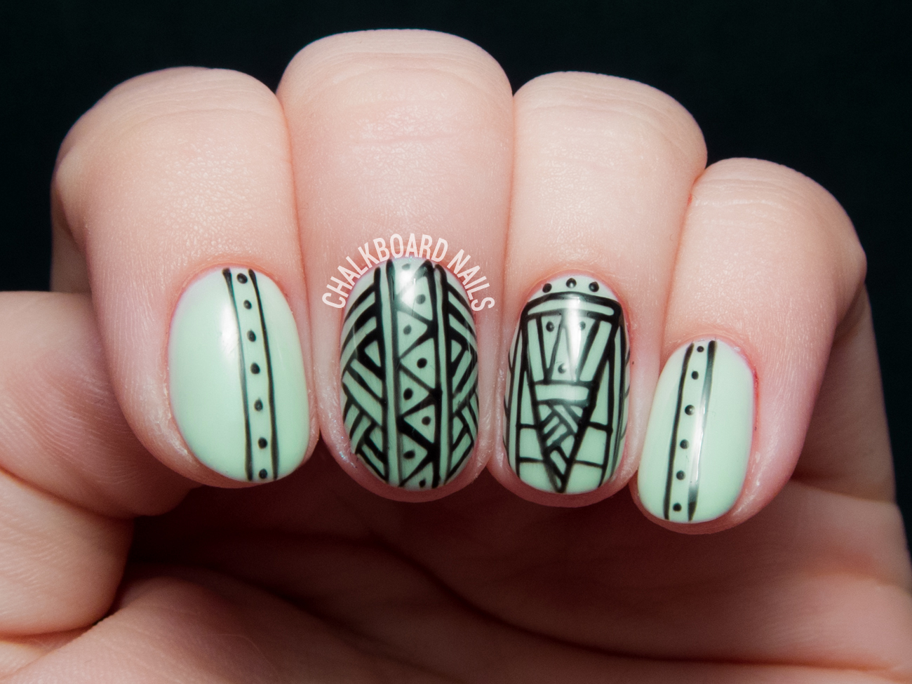 What\'s green, glittered, and glowing all over? | Chalkboard Nails ...