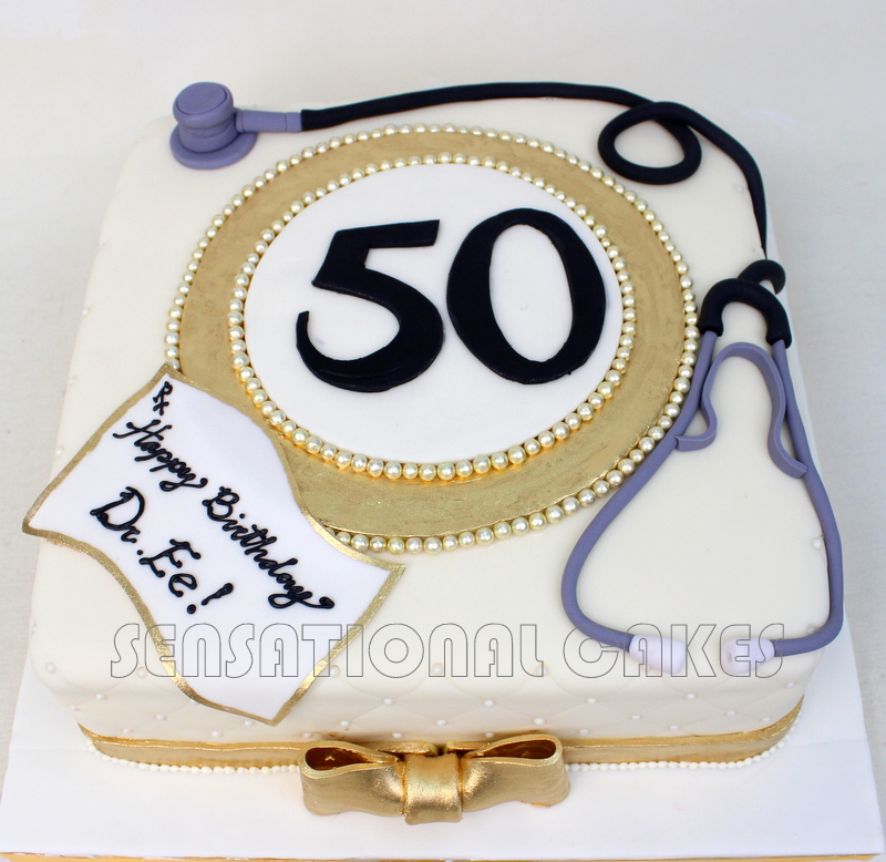 The Sensational Cakes stethoscope DOCTOR THEME ANNIVERSARY CAKE