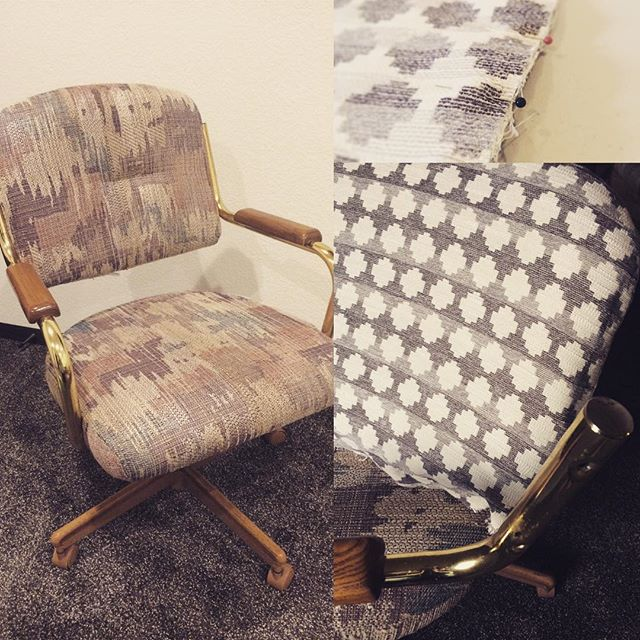 #thriftscorethursday Week 79 | Instagram user: farm_mama_15 shows off this Reupholster Caster Dining Chair