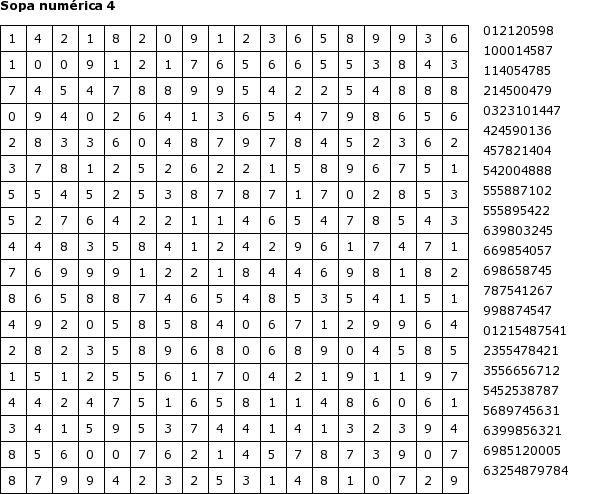 Pasatiempos para Imprimir: Sopa numérica nº 4