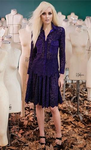 look de festa Patrícia Viera camisa e saia de couro coleção inverno