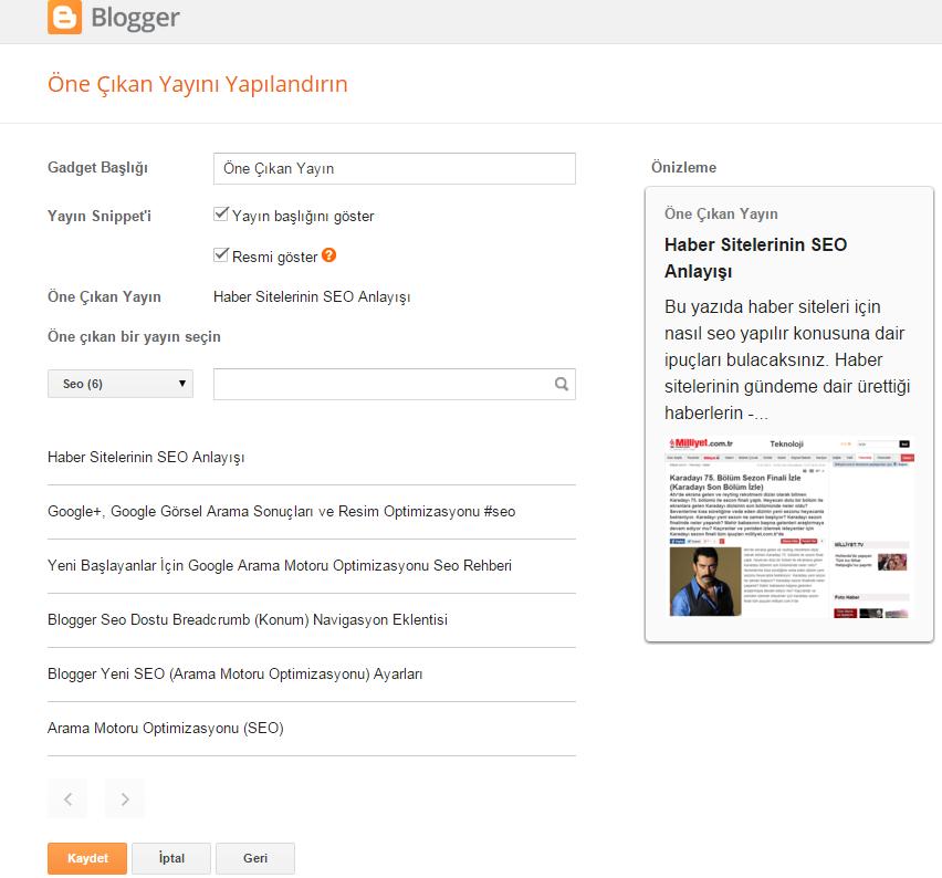 Blogger öne çıkan yayın bileşeni (gadgeti) veya blogger öne çıkarılmış yazı eklentisi (featured post plugin)
