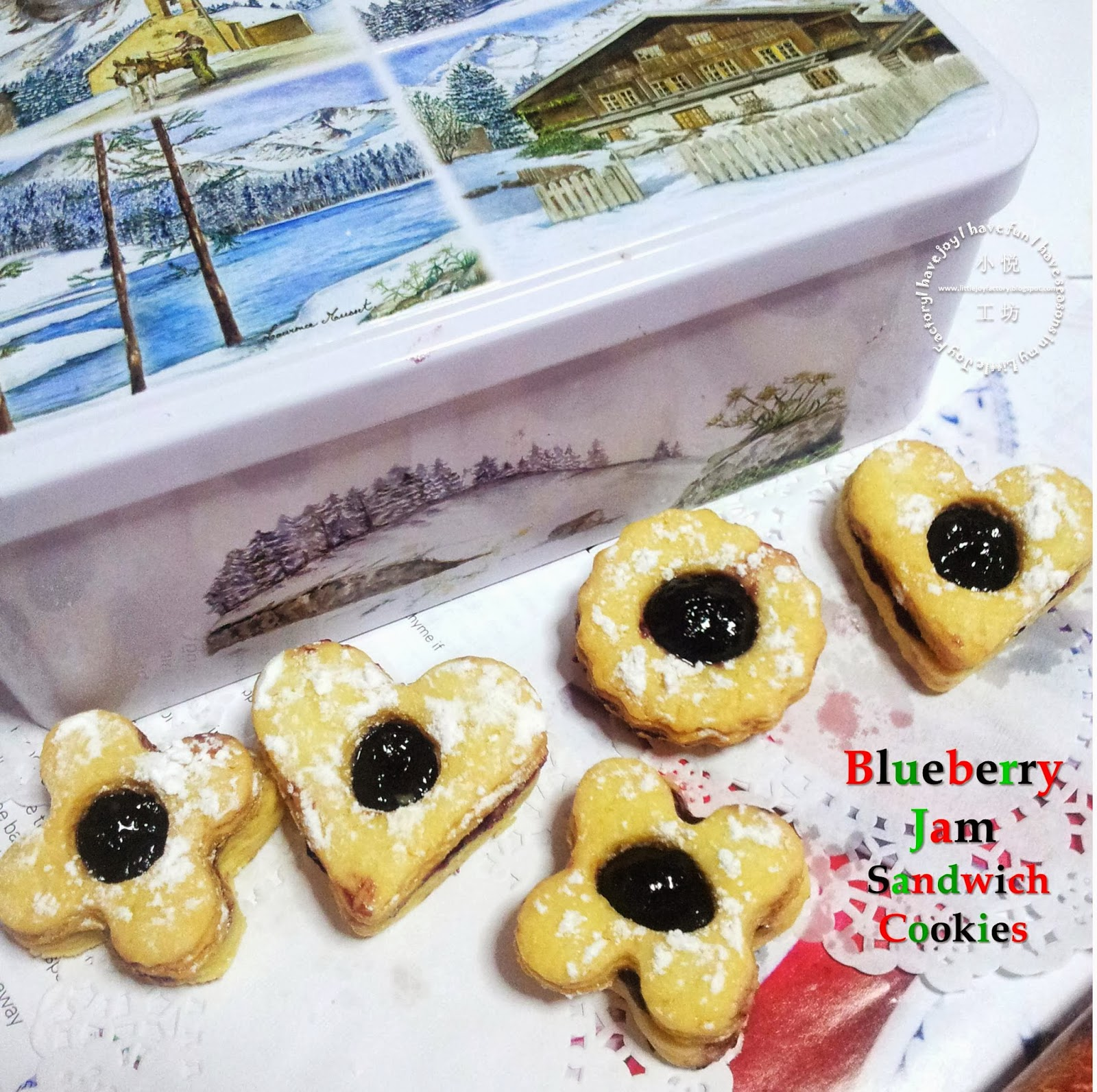 Little Joy Factory: Fill the Tins with Blueberry Jam Sandwich Cookies