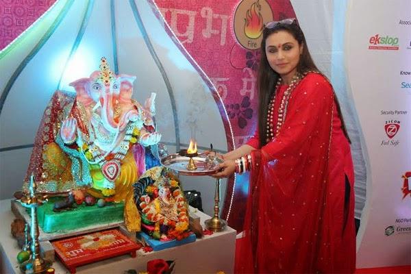 Rani Mukerjee celebrates Ganesh Chaturthy at home