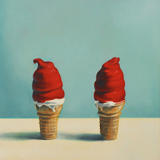 oil painting of two cherry dipped ice cream cones