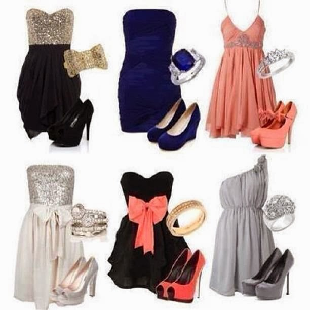 Attractive Evening Dresses in Different Colors with Accessories and Beautiful Platform Hig- Heeled Shoes
